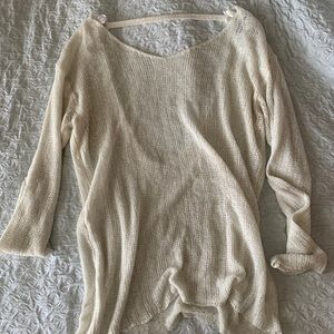 Sheer knit top w/ low back